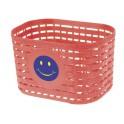 Košík predný plast, detský, červený motív smajlík
