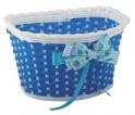 Košík predný plast, detský, modro/biely
