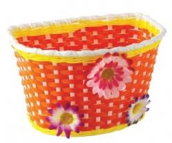 Košík predný plast, detský, oranžovo/žltý, motív k