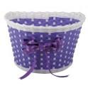 Košík predný plast, detský, fialovo/biely